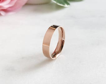 5mm Rose Gold Plated Stainless Steel Ring, Custom Promise Ring, Promise Ring for Him, Purity Ring, Coordinates Ring, Fiance Ring, Date Ring