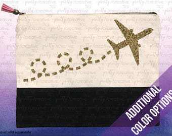 Airplane Travel Vacation Two Tone Makeup/Travel Cosmetic Bag with Black Canvas Trim -  Black, Silver or Gold Glitter