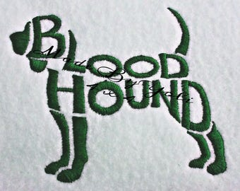 Embroidery Design Digitized Blood Hound Text Fill 4 x 4