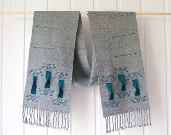 Handwoven scarf grey & teal, statement scarf, one of a kind scarf, 100% handspun merino
