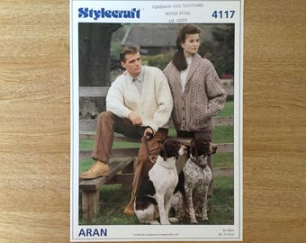 Stylecraft 4117 Knitting pattern for Aran cardigan/jacket ORIGINAL