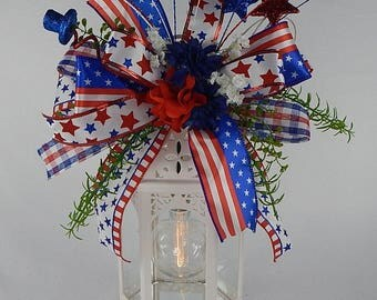 Patriotic Lantern swag-USA lantern swag-Fourth of July-Patriotic Floral-Red White Blue Swag-Memorial-Day-Labor day-Red White Blue