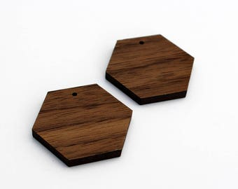 2 Hexagon Blank Beads : Walnut