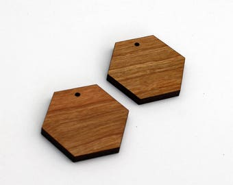 2 Hexagon Blank Beads : Cherry