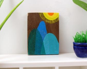 Original Miniature Artwork for the Modern Home - Blue Mountain Sun Day