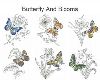 Butterfly And Blooms Embroidery Designs Instant Download 4x4 5x5 6x6 hoop 10 designs APE2526