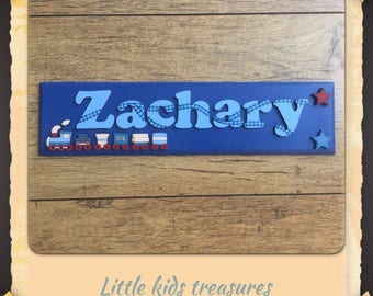 "Childrens nursery hand made wooden name plaque/door signs. Personalised up to 8 letters 12x3"" - Little kids treasures"