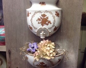 Vintage Lavabo, wall planter, wall fountain, spigot, porcelain white and gold, french, home, decor