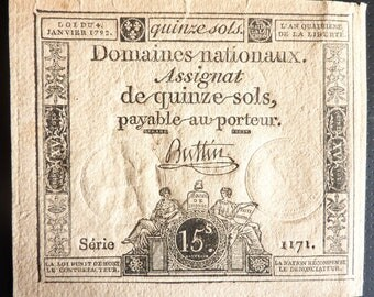 Genuine French Revolution Period Banknote. 15 Sols. Dated 1792.