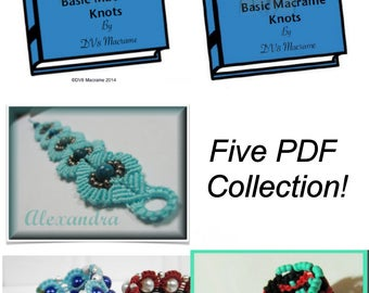 5 PDF Macrame Collection. Sine Wave, Basic Wave and Beaded Circle
