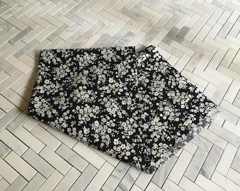 Black Floral Cotton Print Fabric Remnant