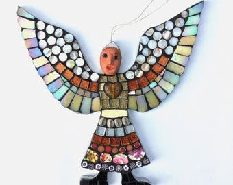 Folk art angel - mythical creatures -mosaic wall art - spiritual gift - magical art - fantasy art - strange and unusual - medieval inspired