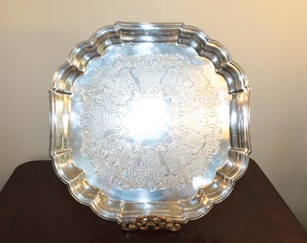 Square Etched Silverplate Tray with Scalloped Edge – Signed Gorham- Heritage Pattern