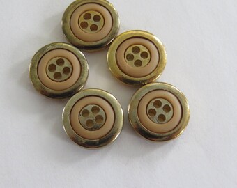 Vintage metal gold and orange button