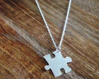 Handcrafted Jigsaw Puzzle Necklace, Puzzle Necklace, Jigsaw Silver Necklace, Silver Puzzle Jewellery, Silver Jewellery, Jigsaw Jewellery