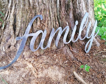 "family 23"" Rustic Raw Steel Cursive Sign Inspirational Sayings Metal Sign  BE Creations"