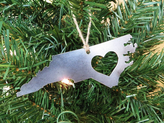 North Carolina State Christmas Ornament Raw Steel Personalize