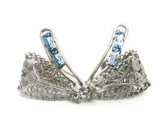 Vintage Sterling Silver and Rhinestone Screw Back Earrings