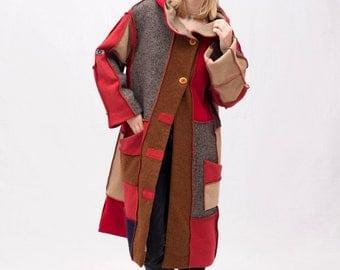Hooded upcycled coat