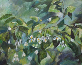 Oil Painting Japanese Snowbell Branch Original Artwork Home Decor Wall Decor Wall Hanging Art Floral 50x70cm