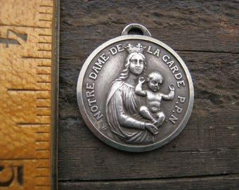 Virgin Mary Medal, Saint Christopher Medal, Silver Alloy Religious Pendant, French Religious Medal