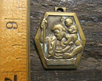 Saint Christopher Medal, French Religious Medal, French Vintage Medal, Bronze Saint Christopher, French Religous Pendant