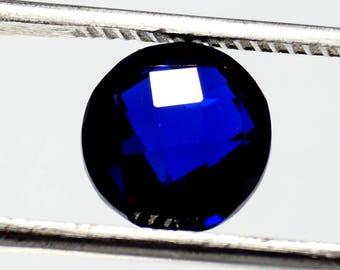 60% OFF  - Round Blue Sapphire Gemstone / Lab Created Sapphire Gemstone - Blue Sapphire 9x9x4 mm Lab Created Gemstone Round Shape Gem (A-70)