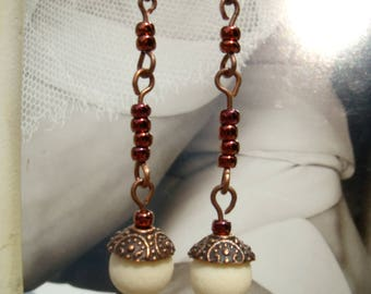 OLIBANUM Incense Earrings Copper pearl Earrings incense Fragrance Seductive Sensual