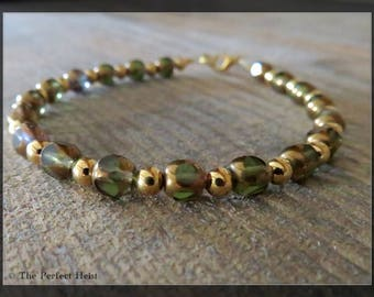 Bracelet, Czech Beads, Gold, Average Wrist, For Her, Green