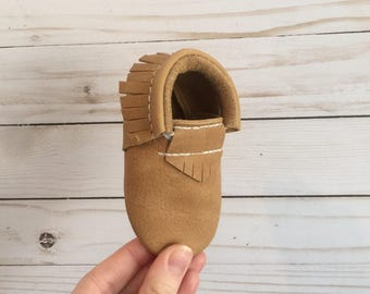 Desert Brown Mocs // Baby Moccasins // Genuine Leather Moccains // Mocs