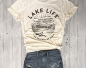 LAKE LIFE Cuz Beaches Be Salty..Retro Unisex Natural / Chocolate Brown Triblend Tee, Graphic Tee, Funny Shirt, Camp Tee, Lake Mode, Vintage