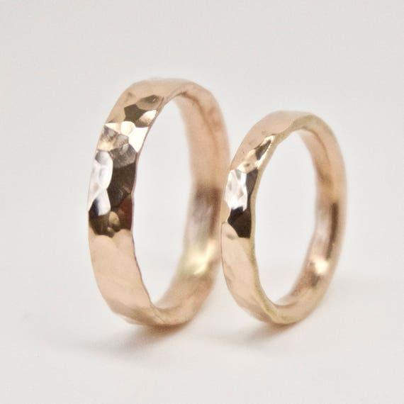 Hammered Rose Gold Wedding Ring Set - 18 Carat