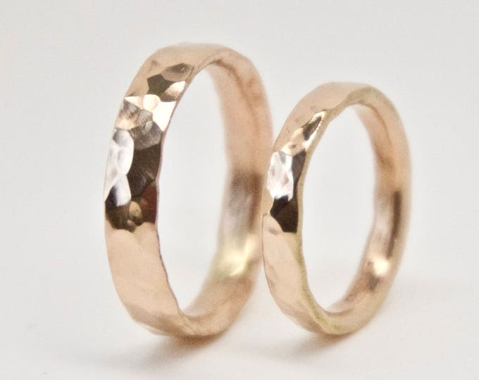Hammered Rose Gold Wedding Ring Set - 18 Carat
