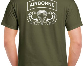 Airborne T-Shirt - 2 Sided Tee - Paratrooper - 0027-2