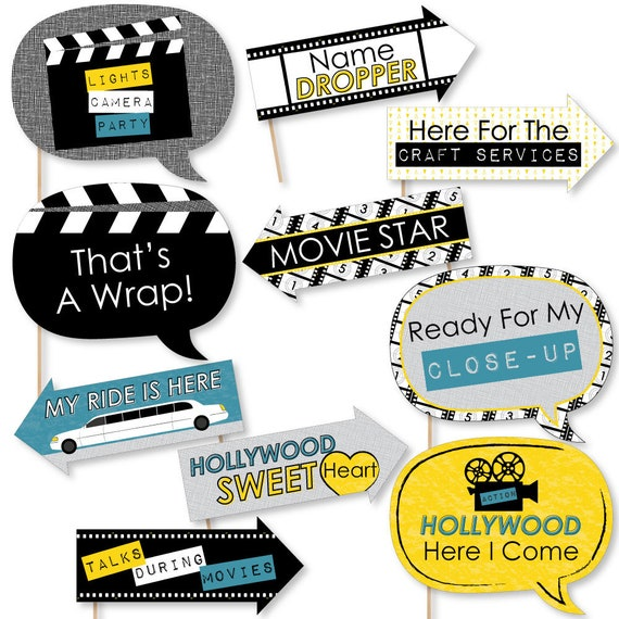 funny movie photo booth props hollywood themed graduation party
