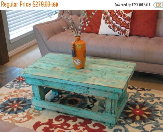 sale rustic distressed coffee table with aqua color pop
