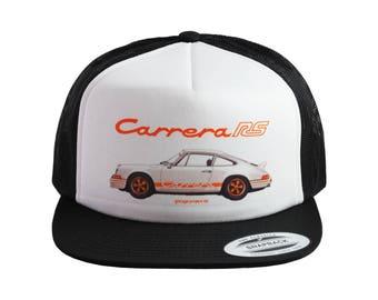 1973 Porsche 911 Carrera RS (White) Baseball Cap, Trucker Hat