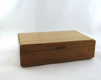 Tea box in Mahogany on the side 12 X 7 3/4 x 3 1/2.Top is made from vertical grain cherry. Item 190