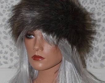Stone Grey Faux Fur Headband with Subtle Silvery Grey Highlights