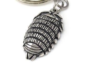 Woodlouse Keychain, Oniscidea Keyring in Pewter