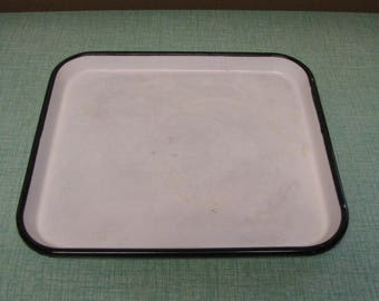 White Enamel Tray Square Black Trimmed Vintage Farmhouse Metal Kitchenware Rustic Home Decor