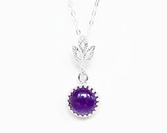 Amethyst Necklace in Sterling Silver - Sterling Silver Amethyst Necklace