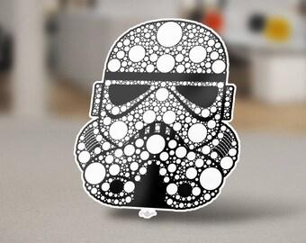 "Stormtrooper Original Sticker Design, a pop culture icon. Clone army from the movie ""Star Wars. Stormtrooper Helmet white on black"