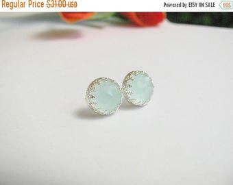 SALE - Jade studs - Silver Jade studs - Jade earrings - Silver studs - Jade stud earrings - Jade post earrings - Light green posts