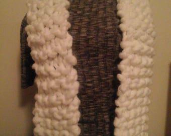Fluffy white scarf