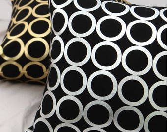 Gold or Silver Ring Pattern 20s Cotton Oxford Fabric by Yard - 2 Colors Selection