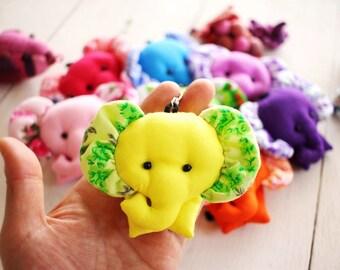 ELEPHANT Set - 5 Elephant keychains, Elephant keychain, Animal keychain, Fabric keychain, Stuffed elephant, Key ring, Gift