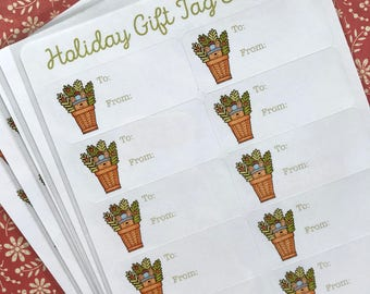 Holiday Winter Bunny Gift Tag Stickers