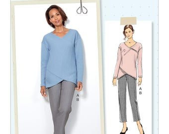 Butterick Sewing Pattern B6526 Misses' Crossover Knit Top and Side-Seam-Detail Pants