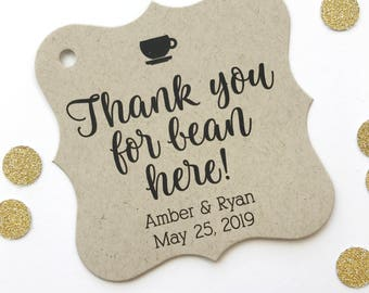 Thank You For Bean Here Kraft Favor Tags, Tea or Coffee Cup Wedding Favor Tags, Wedding Hang Tags  (FS-424-KR)